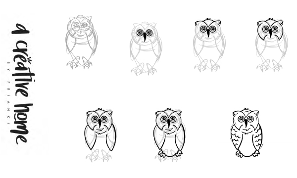 owl drawing step by step